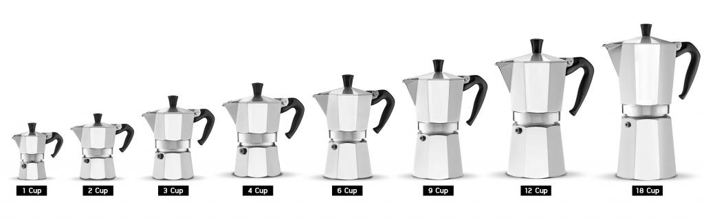Moka Pot size 1 cup, 2 cup, 3 cup, 4 cup, 6 cup, 9 cup, 12 cup and 18 cup.