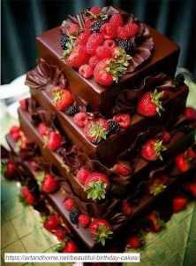 Square-Tiered-Chocolate-Field-Berry-Cake